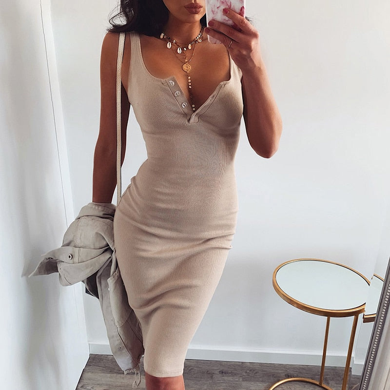 Khaki Slim Midi Dress