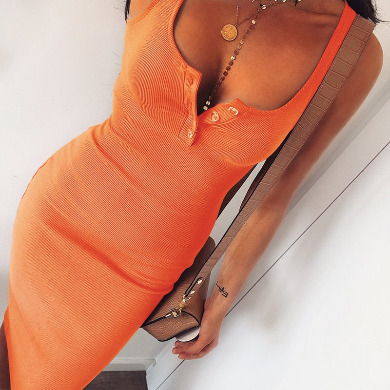 Orange Slim Midi Dress For Summer