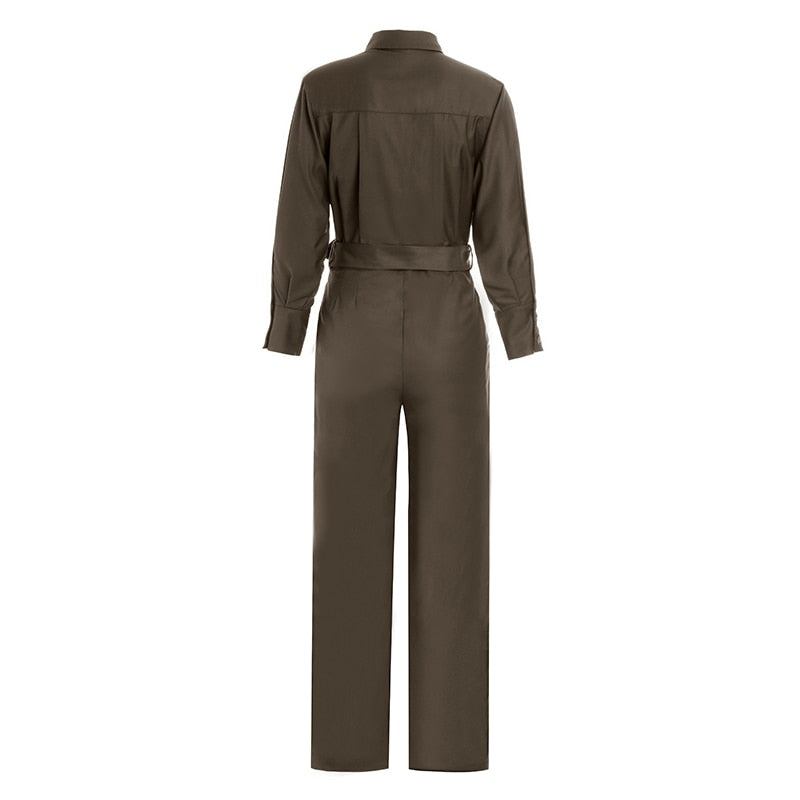Handsome Ankle-Length Slim Brwon Women's Jumpsuit With Slash