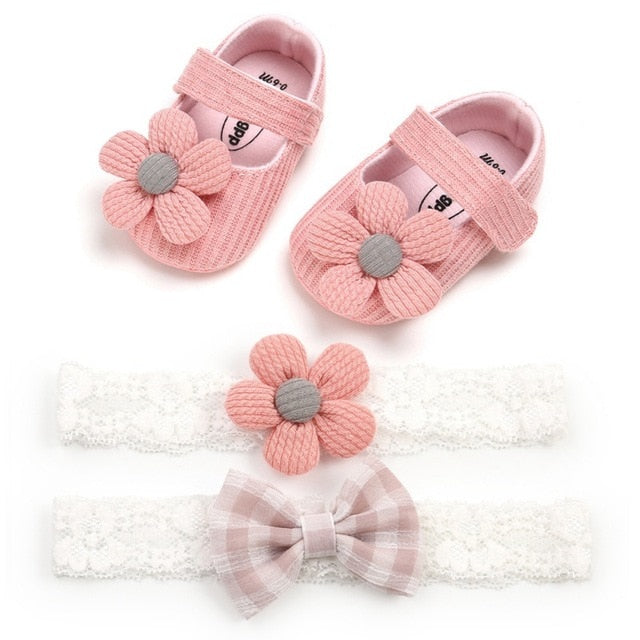 Soft Anti-slip Cotton Baby First Walkers With Headwear