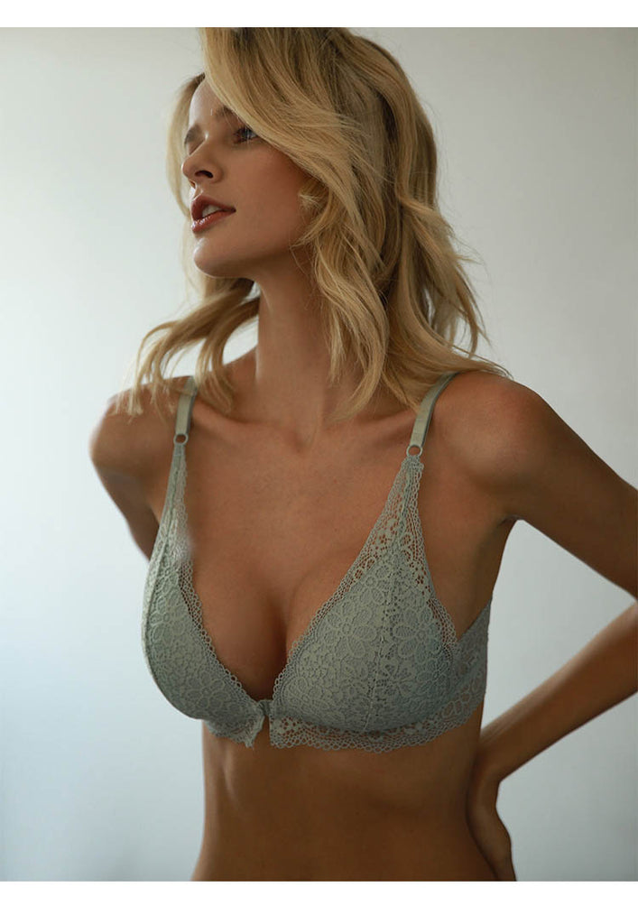 Breathable Embroidery Backless Push Up Lace Bra For Women