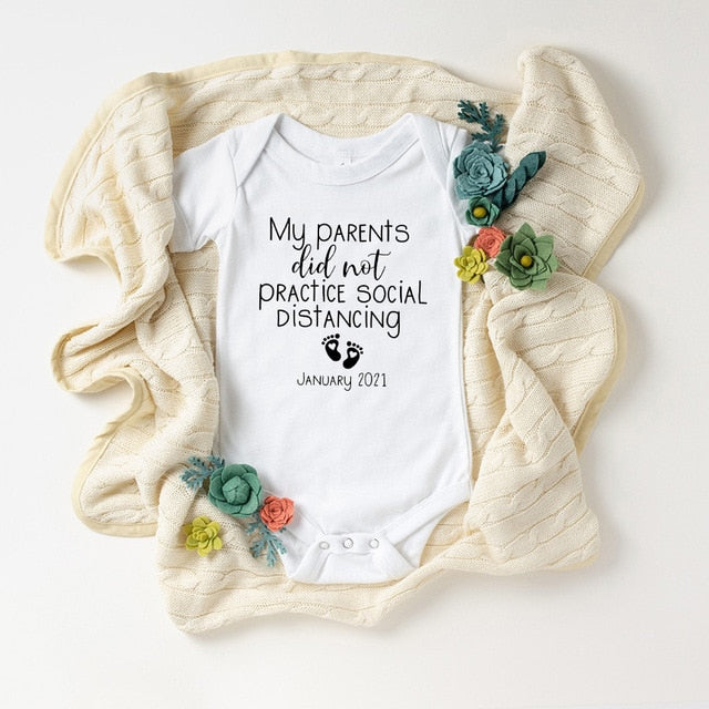 """Baby Coming Soon 2021"" Printed Newborn & Baby Bodysuit"