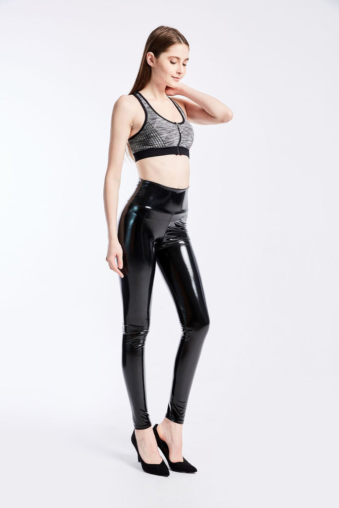 High Waist Skinny Stretch Pu Leather Black Women's Pants