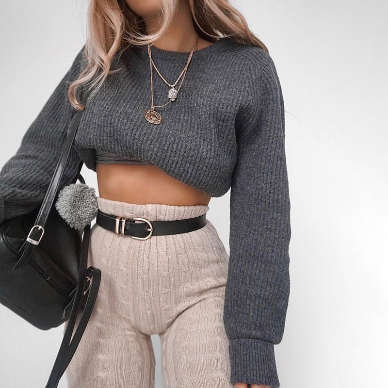 Long Sleeve Knitted Slim Grey Women's Crop Sweater