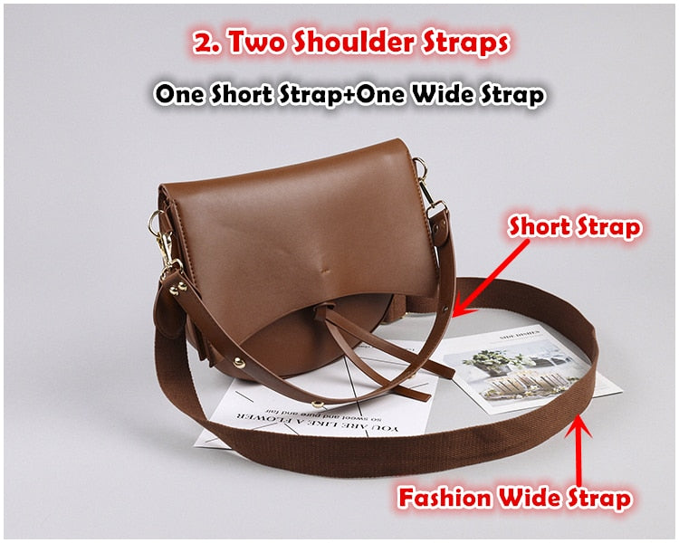 Large Capacity Vintage Saddle Women's Crossbody Bags