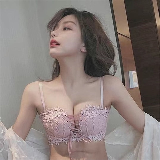 Wireless Seamless Floral Embroidery Tied Bras For Women