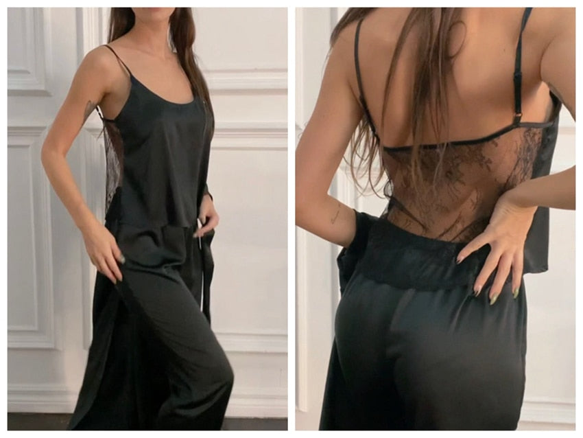 Spaghetti Strap Backless Satin Lace Black Women's Pajamas Set