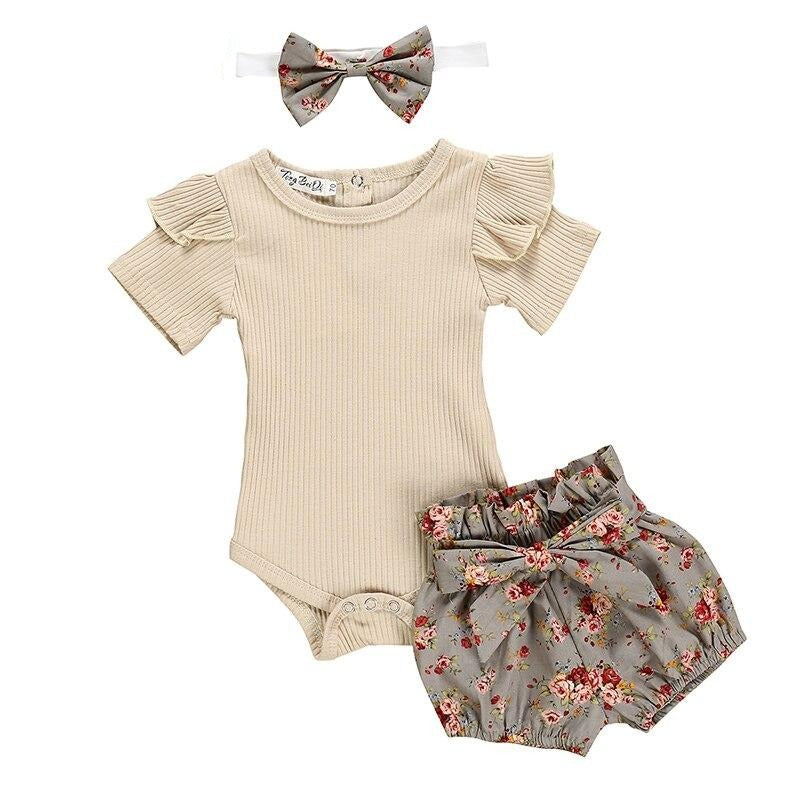 Short Sleeve Ruffle Romper Tops & Flower Short Pants For Baby Girls
