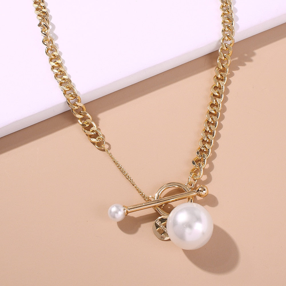 Punk Big Simulated Pearl Pendant Necklace For Women
