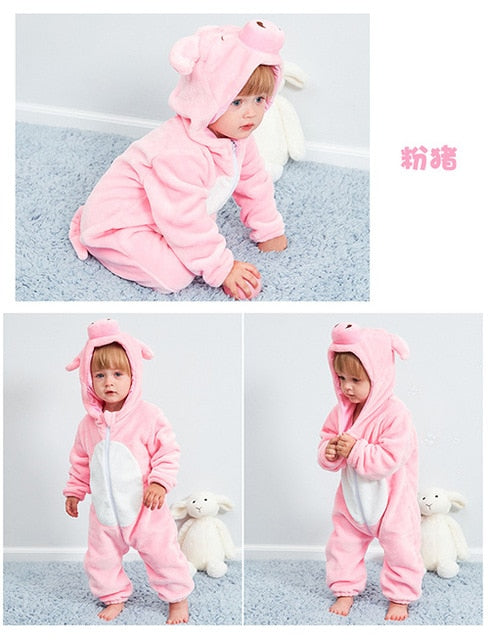 Unisex Hooded Animals Baby Jumpsuit