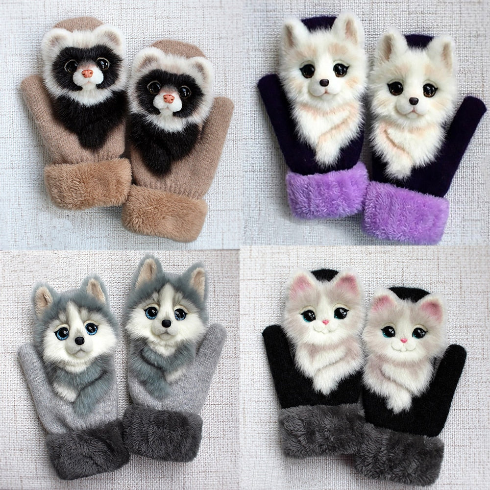Cute Unisex Animal Design Warm Winter Kid's Gloves