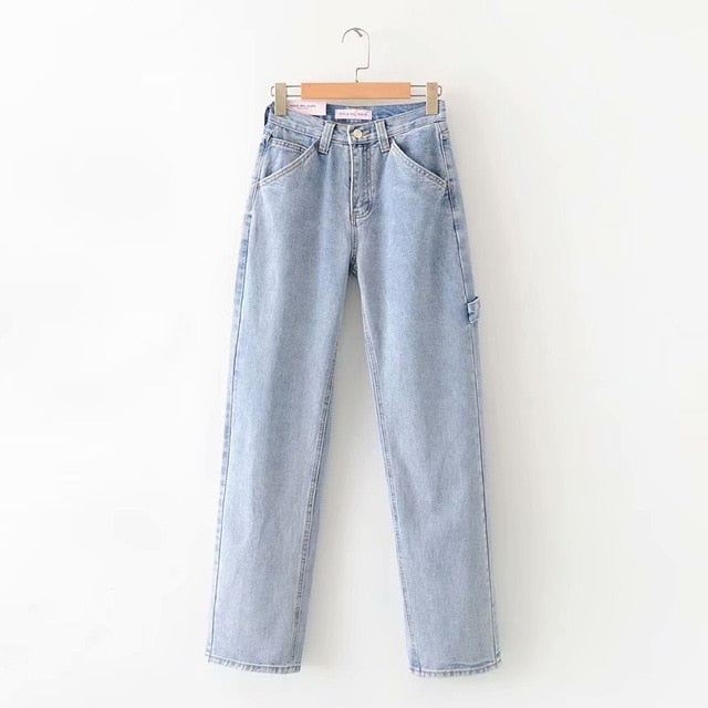 High Waist Straight Loose Wide Leg Women's Jeans Pant