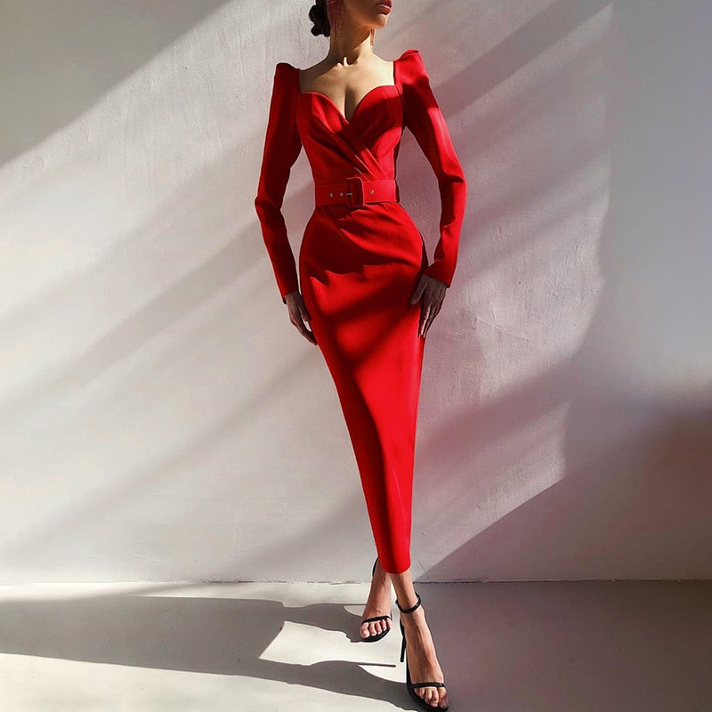Puff Sleeve V-Neck Solid Slim Mid Calf Red Pencil Dress