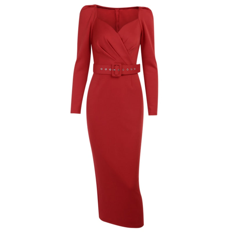 Puff Sleeve V-Neck Solid Slim Mid Calf Pencil Dress