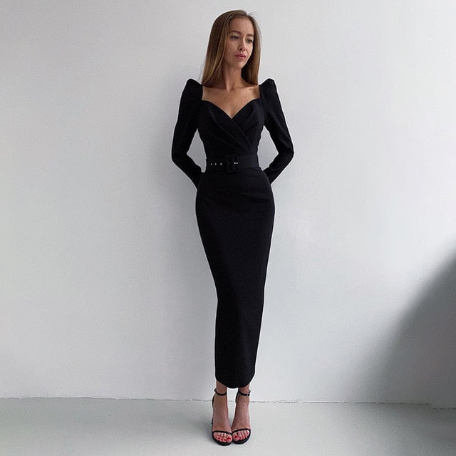 Puff Sleeve V-Neck Solid Slim Mid Calf Black Pencil Dress