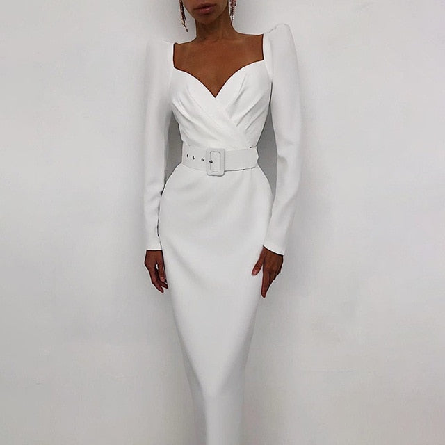 Puff Sleeve V-Neck Solid Slim Mid Calf White Pencil Dress