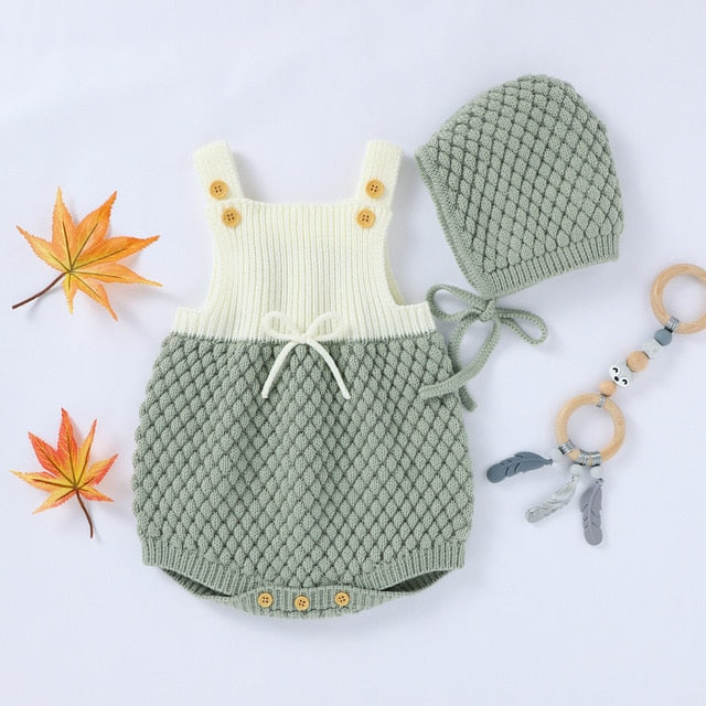 Unisex Sleeveless Knitted Cotton Baby Romper With Hat