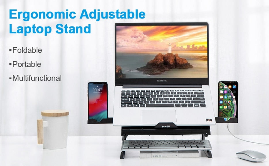 Portable Foldable Adjustable Laptop Stand With Phone Holder