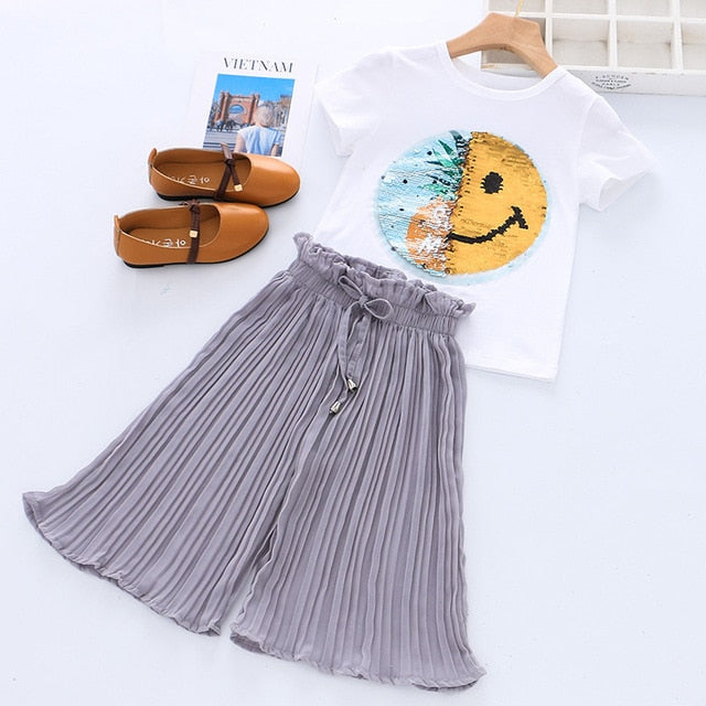 Short-Sleeve Unicorn Sequins T-Shirt With Chiffon Pants Outfit Set For Girls