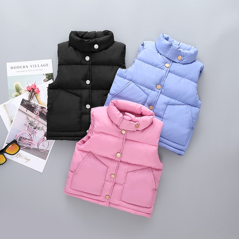Warm Snap Button Kids Down Vest