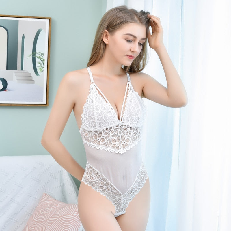 Backless Deep V Halter Push Up Lace Women's Bodysuit