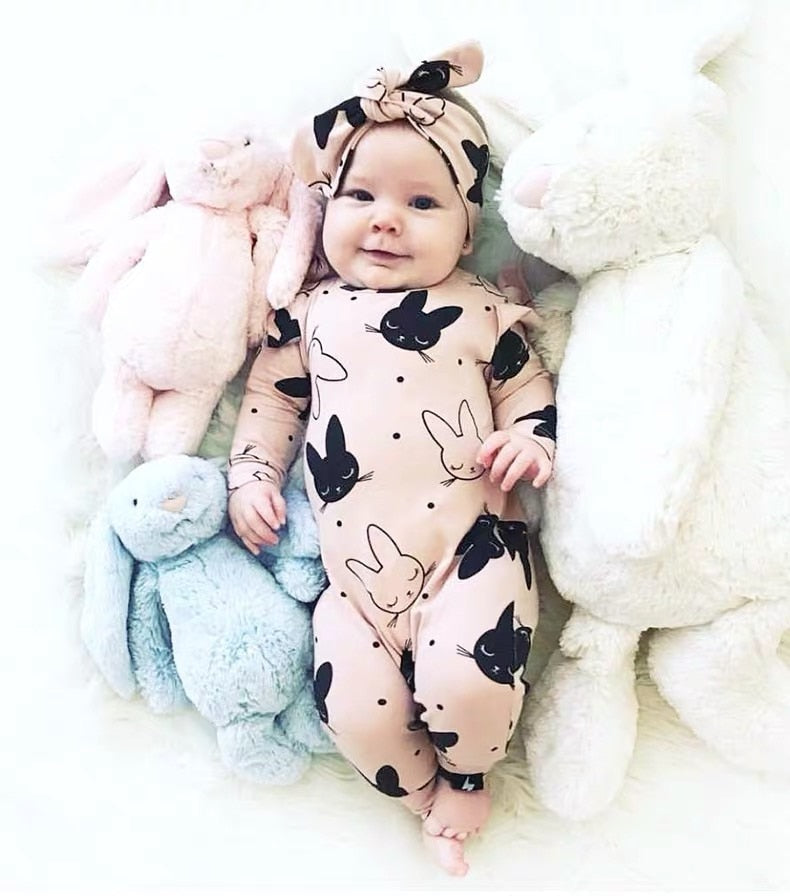 Long Sleeve Rabbit Printed Cotton Baby Girls Romper With Headband