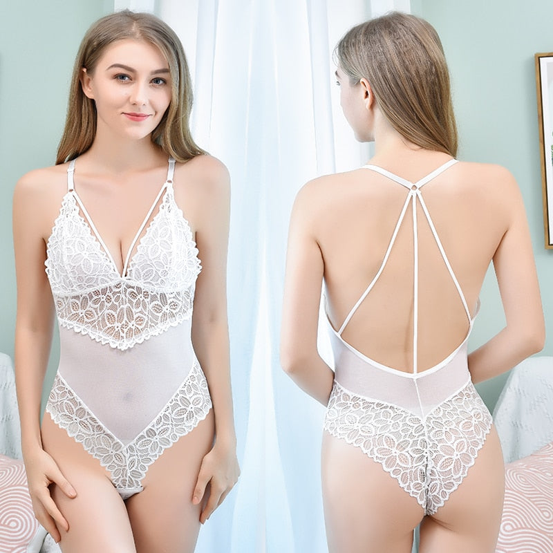 Backless Deep V Halter Push Up Lace Women's White Bodysuit