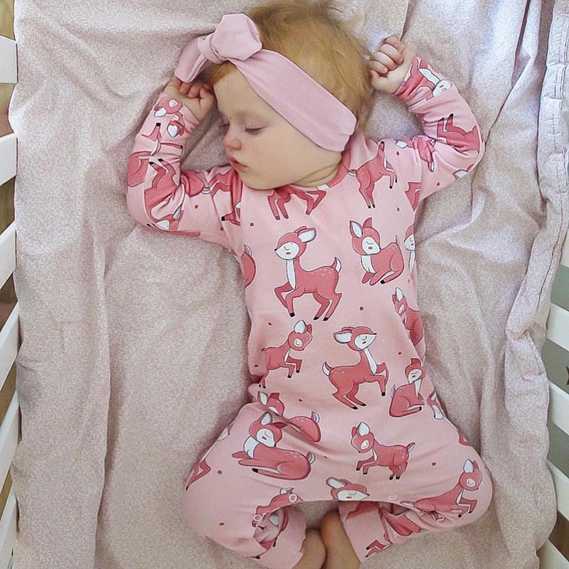 Long Sleeve Pink Deer Print Cotton Baby Girls Romper