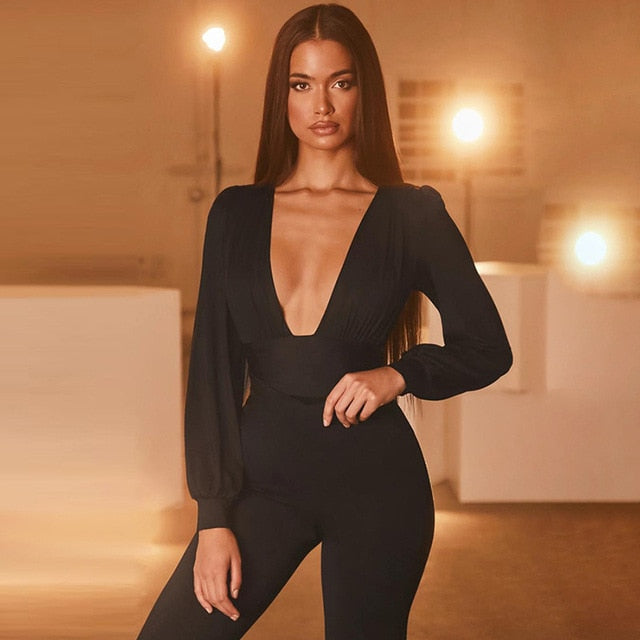 High Waist Deep V-Neck Low Cut Black Jumpsuits For Women