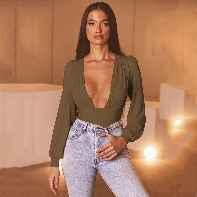 High Waist Deep V-Neck Low Cut Green Jumpsuits For Women
