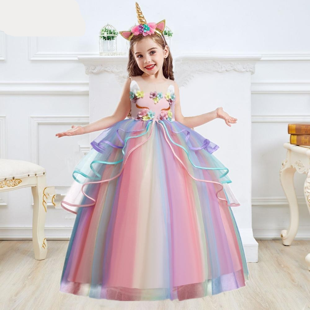 Elegant Sleeveless Ankle-Length Unicorn Girls Dress