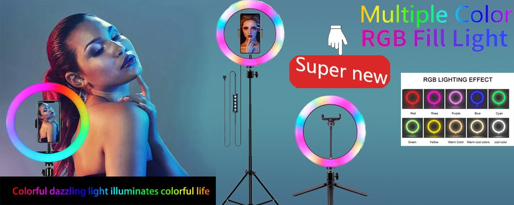Dimmable Light To Make Selfie/Videos LED Ring Lamp With Tripod Stand