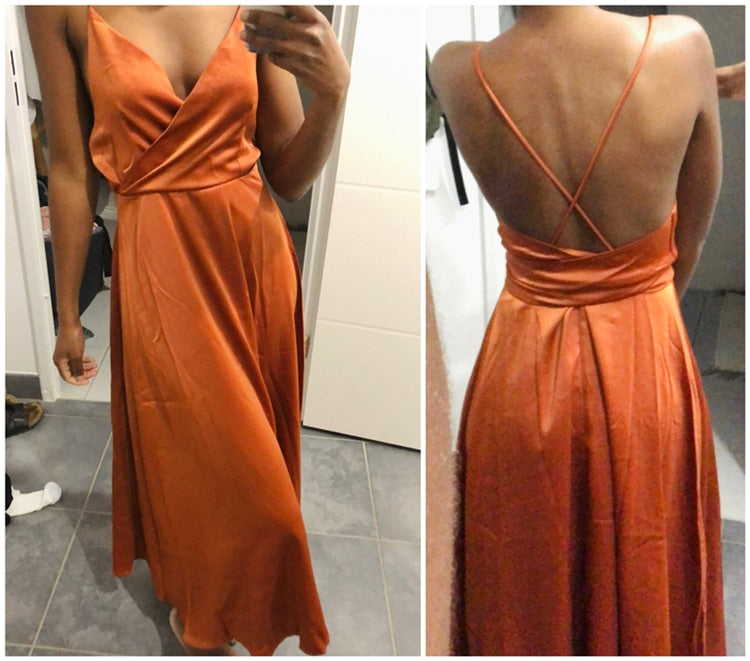 Vintage A-Line Spaghetti Strap Backless Maxi Sundress