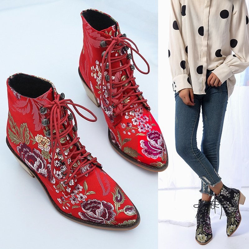 Floral Embroidery Silk Women's Martin Ankle Boots