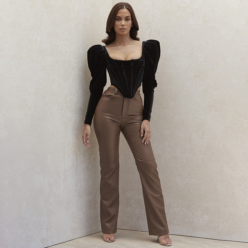 High Waist Pu Leather Loose Women's Pant