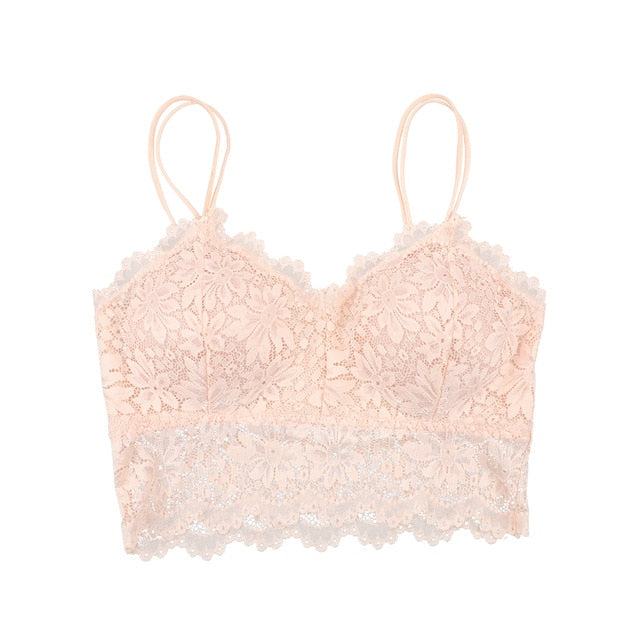 Comfortable Wireless Full Cup Push Up Women Lace Bralette