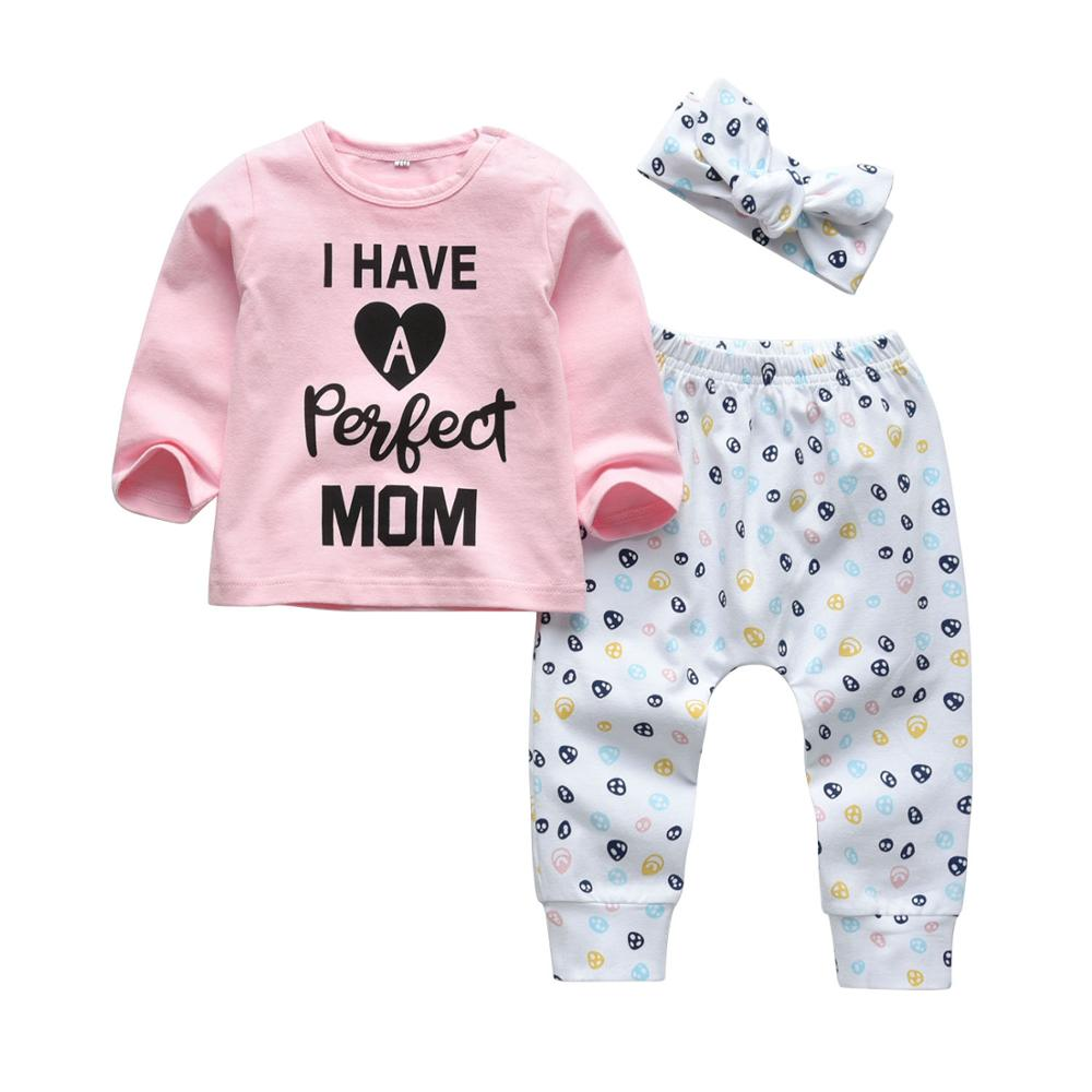 """I Have a Perfect Mom"" Letter Printed 3Pcs Baby Girl Clothing Set"