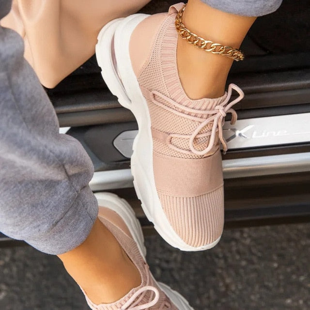 Breathable Flat Mesh Sock Sneakers For Women