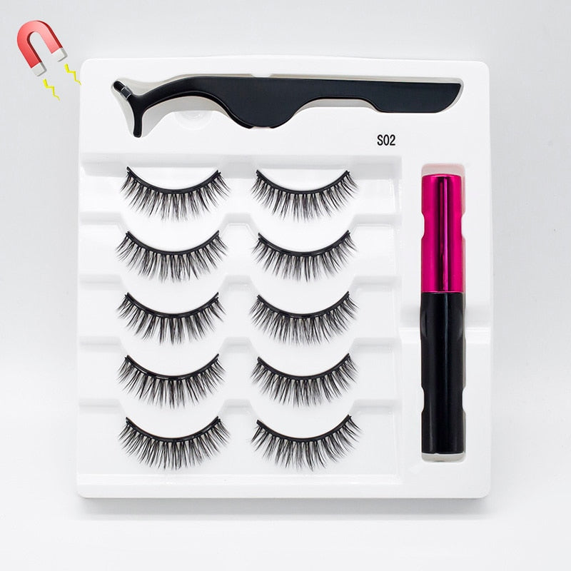 Waterproof 5 Pairs/Set Repeated Use Magnetic Eyelashes