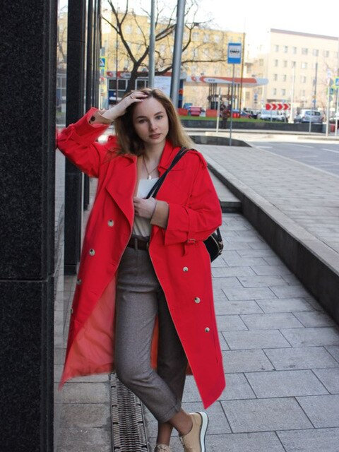 Korean Style Loose Long Red Trench Coat For Women