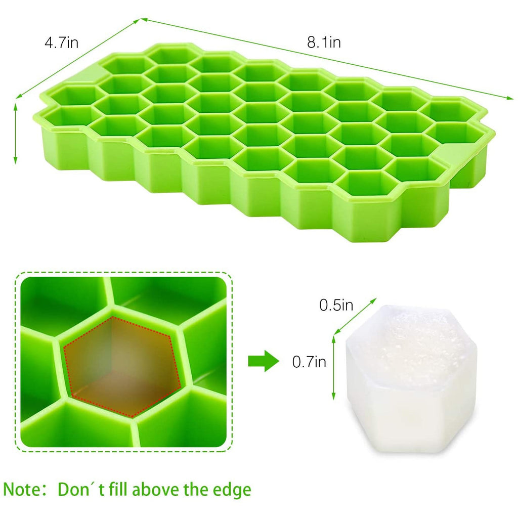 BPA Free Silicone Honeycomb Ice Cube Trays With Removable Lids