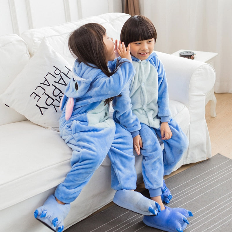 Unisex Hooded Animal Cartoon Pajamas For Children