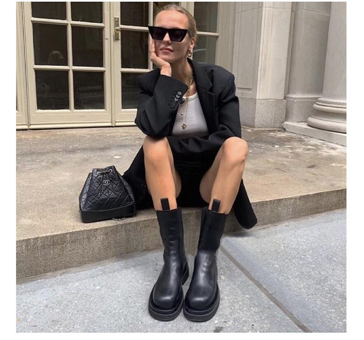 Luxury Platform Chunky Chelsea Ankle Boots For Women