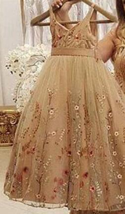 Spaghetti Straps Mother & Daughter Matching Champagne Evening Dress