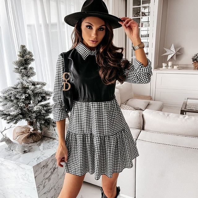 Patchwork Long Sleeve PU Leather Plaid Mini Plaid Shirt Dress