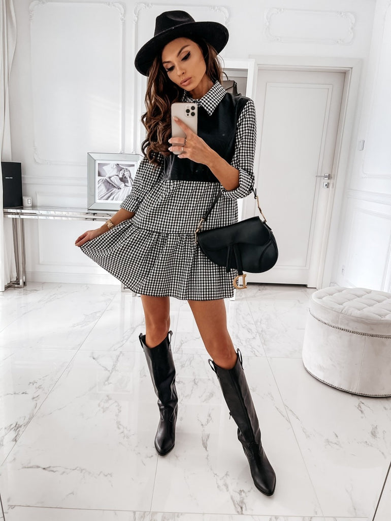 Patchwork Long Sleeve PU Leather Plaid Mini Shirt Dress