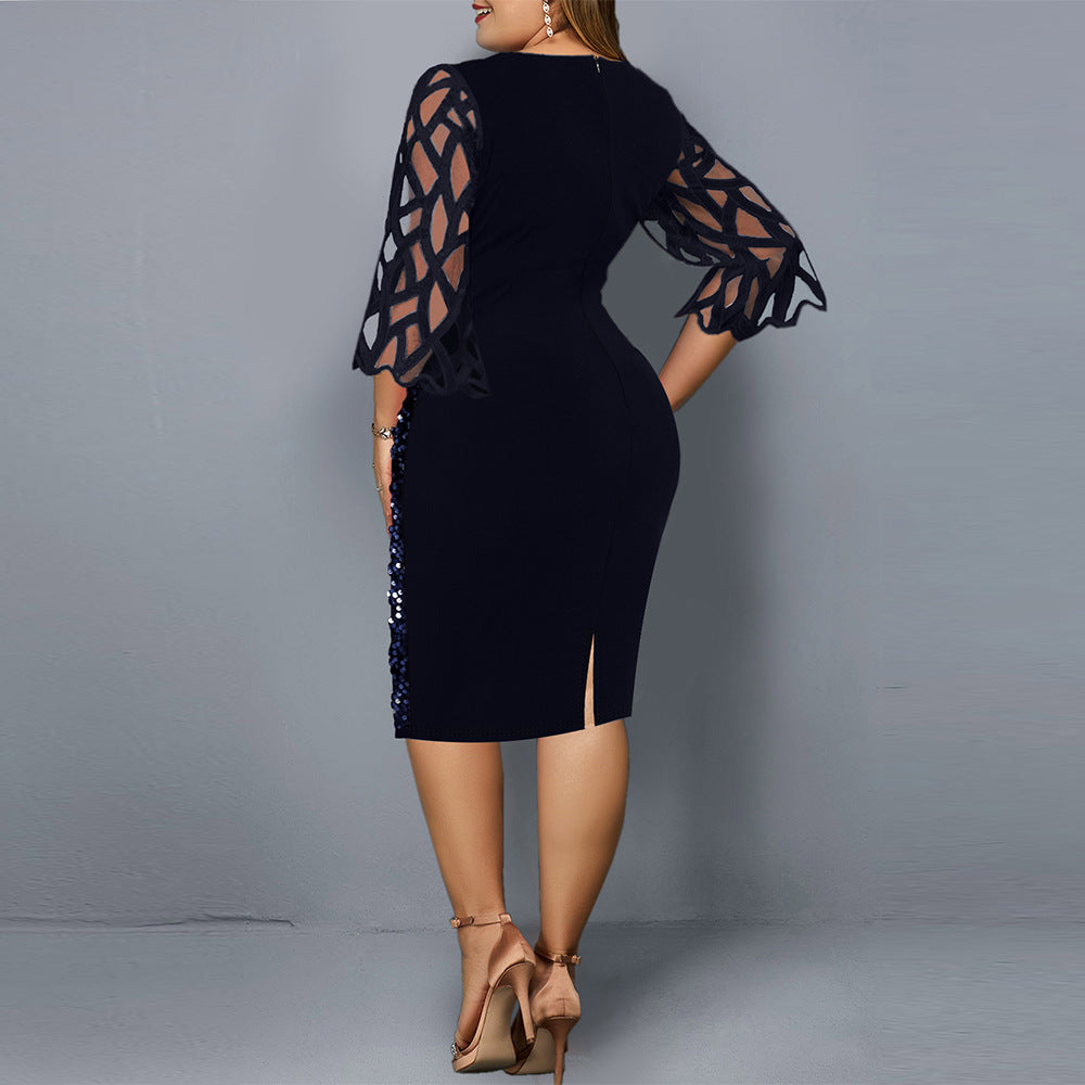 Plus Size Sequined Bodycon Midi Party Dress
