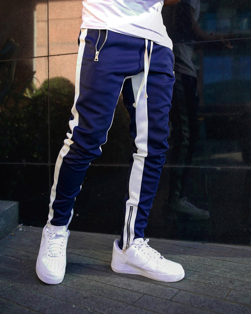 Hip Hop Side Striped Men's Blue Pencil Pant