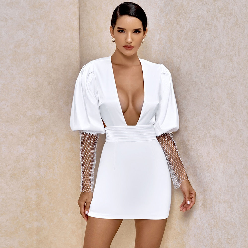 Deep V-Neck Bodycon Backless Mini Dress