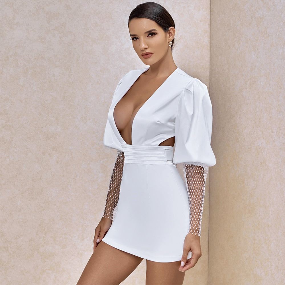 Deep V-Neck Bodycon Backless Mini White Dress